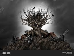 halloween spiders background halloween haunted creepy tree night background as an old growth