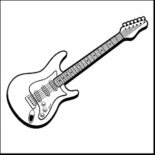 remarkable musical instruments coloring pages for kids with guitar