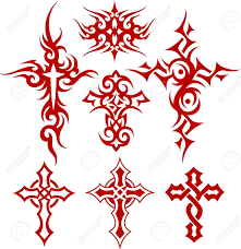 tribal scroll cross symbol royalty free cliparts vectors and