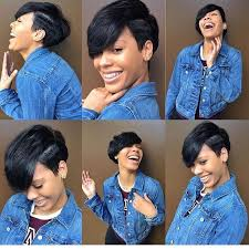 pic of black women side swept bangs and bun hairstyle women s cute black undercut pixie with side swept bangs