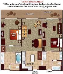 Floor Plan Of Two Bedroom House by Photo Tour One Bedroom Villa Bath Master Bedroom Space Disney U0027s