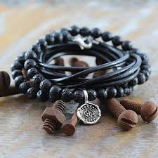 mens jewelry leather bracelet images Carpe diem mens sterling silver leather bracelet jpg