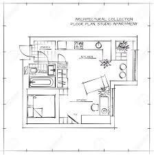 architectural hand drawn floor plan studio apartment royalty free