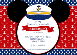 nautical mickey mouse birthday invitation by lovelifeinvites
