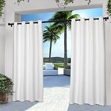 Outdoor Cabana Curtains 2 Pieces 108 Inch White Color Gazebo Curtains Set