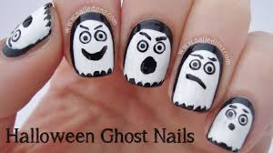easy halloween ghost nail art youtube
