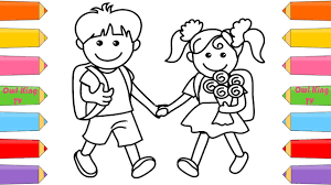 and boy coloring pages how to draw for children
