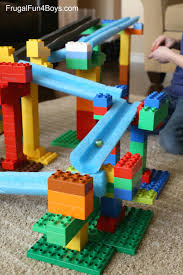 stem building challenge for kids lego duplo and pool noodle