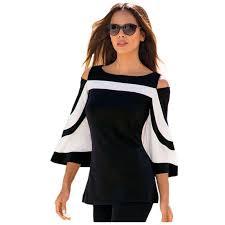 s blouse 2018 designer s best blouse black white color block bell
