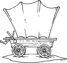 covered wagon coloring page picture 3725