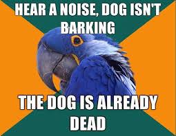 hear a noise dog isn t barking the dog is already dead paranoid