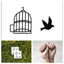 uccelli in gabbia uccello in gabbia tatuaggio temporaneo set di 2