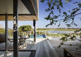 wood deck terrace pool water views bay house in westhampton