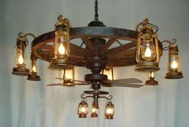 wagon wheel ceiling fan light 1 tier wagon wheel chandelier with old fashioned lanterns and