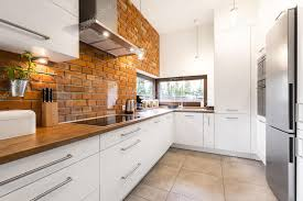 Designed Kitchen Modern Designed Kitchen With Brick U2014 Stock Photo Photographee Eu