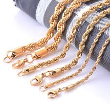gold braided rope necklace images Width 2 4 6mm stainless steel gold rope chain necklace statement jpg