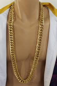 gold metal chain necklace images Gold metal chain links extra long chunky gangster hip hop biker jpg