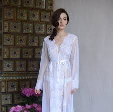 wedding sleepwear lace trimmed tulle bridal robe f14 by apilat on zibbet