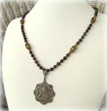 catholic necklaces catholic jewelry handmade with vintage medals rosary necklace