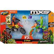 motocross action figures adventure wheels mxs wicked rivals 2 pack series 4 sewer monster