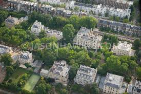 aerial view aerial view of mansions in kensington palace gardens