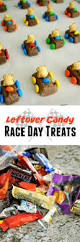 edible race car treats with leftover halloween candy forks and folly