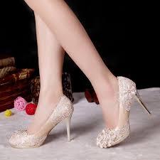 grceful lace flower chagne heels rhinestone wedding