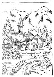 clip art christmas village coloring pages mycoloring free