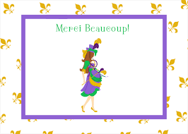 mardi gras baby gras baby shower thank you note cards