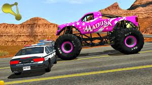 monster truck crash videos youtube monster truck police road block crashes beamng drive 1 youtube