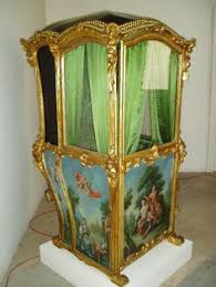 Sedan Chairs French Wooden Sedan Chair With Hand Painted Designs And Bisque