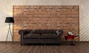 Vintage Living Room by Vintage Livingroom With Classic Couch Against Brick Wall