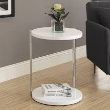 Modern Accent Table Monarch I 3056 Metal Accent Table U2013 White Glossy Base And Top
