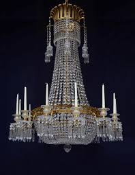 Large Chandeliers Pair Of Large English Regency Cut Glass And Gilt Bronze