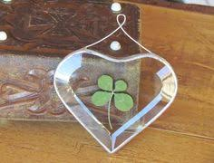 genuine four leaf clover ornament green glass by snlcreations