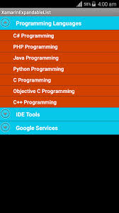 tutorial xamarin expandablelistview in android application xamarin android