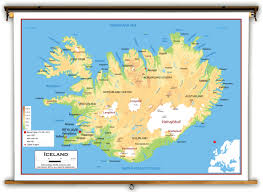 iceland map iceland physical educational wall map from academia maps