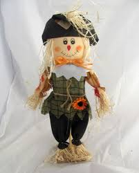 scarecrow doll figure thanksgiving pilgrim collar sunflower