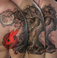 family tree oak moon creepy 3d sleeve branches