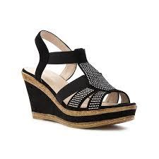 cushion walk cushion walk womens black strappy wedge sandal