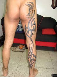 in leg tattoo