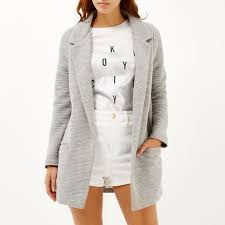 river island light grey jersey jacket in gray lyst