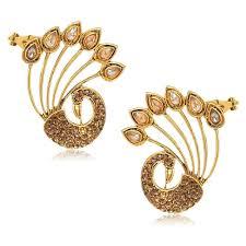 peacock design earrings in gold youbella designer traditional peacock earcuff earrings