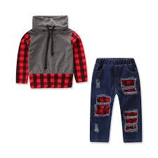 Christmas Kids Baby Boy Clothing Sets Red Plaid Tops Hole Denim