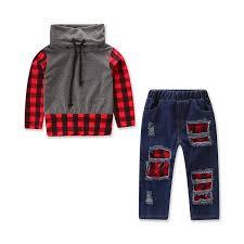 Christmas Kids Baby Boy Clothing Sets Red Plaid Tops Hole Denim