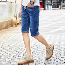 mens light blue shorts 2018 mens denim shorts slim regular casual knee length short jeans