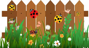 Garden Fence Decor Insects Background Ladybugs On Garden Fence Decor Free Vector In