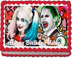 harley cake topper harley quinn and joker edible cake topper image quarter sheet cake