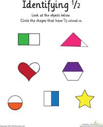 identifying the fraction 1 2 worksheet education com
