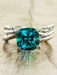 emerald engagement rings images Nicci cushion cut emerald asymmetrical wave band ken dana jpg